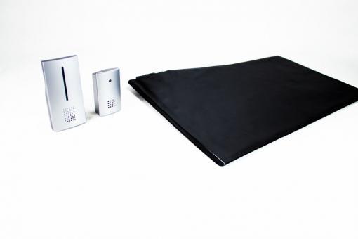 Set Funk-Alarmtrittmatte mit 2 mobilen Empfänger (Empfänger mit Gürtelclip/Lautstärkeregelbarer Empfänger)